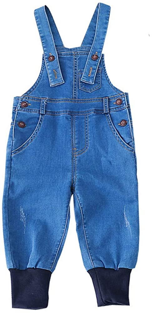MaxKids Baby & Little Boys Girls Casual Denim Bib Overalls Jumpsuits Jeans