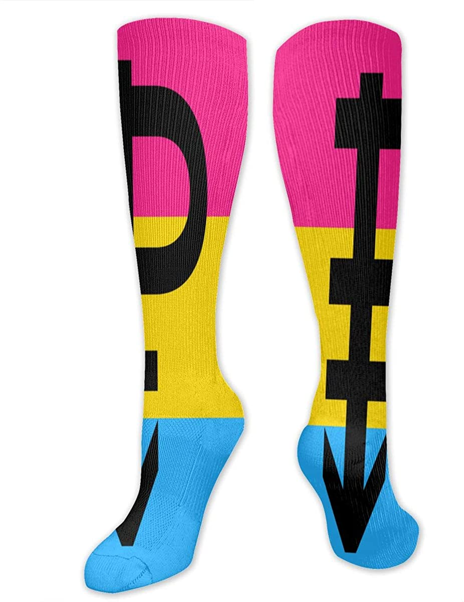 Pansexual Pride Flag With P Athletic Socks Thigh Stockings Over Knee Leg High Socks