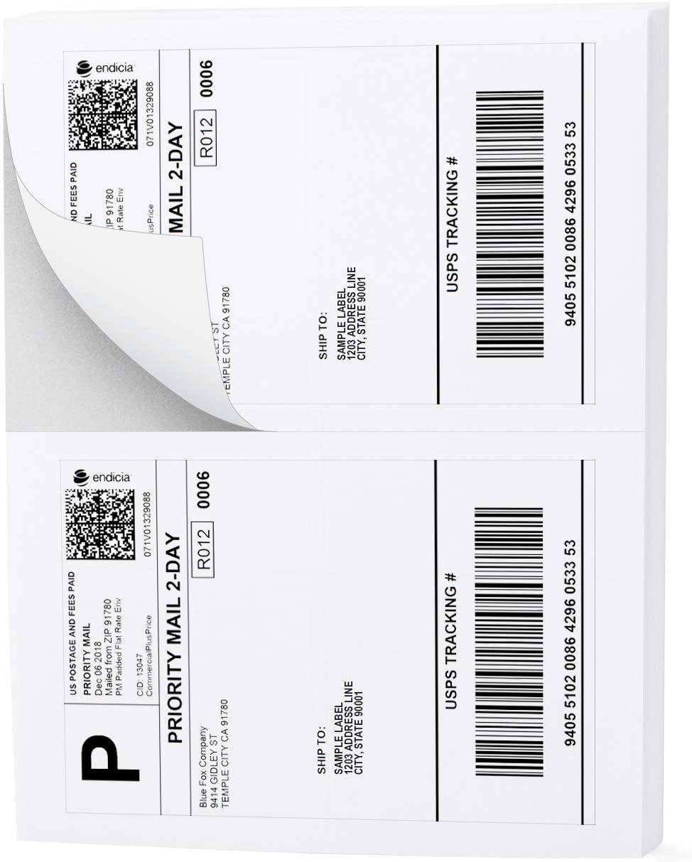Buhbo Half Sheet Address Shipping Label 8.5 x 5.5 Sticker Labels for Laser & Ink Jet Printers (100 Sheets, 200 Labels)