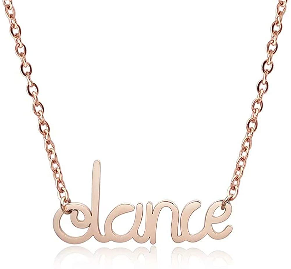 YOUCANDOIT2 Fashion Personalise Dance Initial Letter Inspirational Pendant Necklace for Woman Girl Gift Jewelry,18Inch