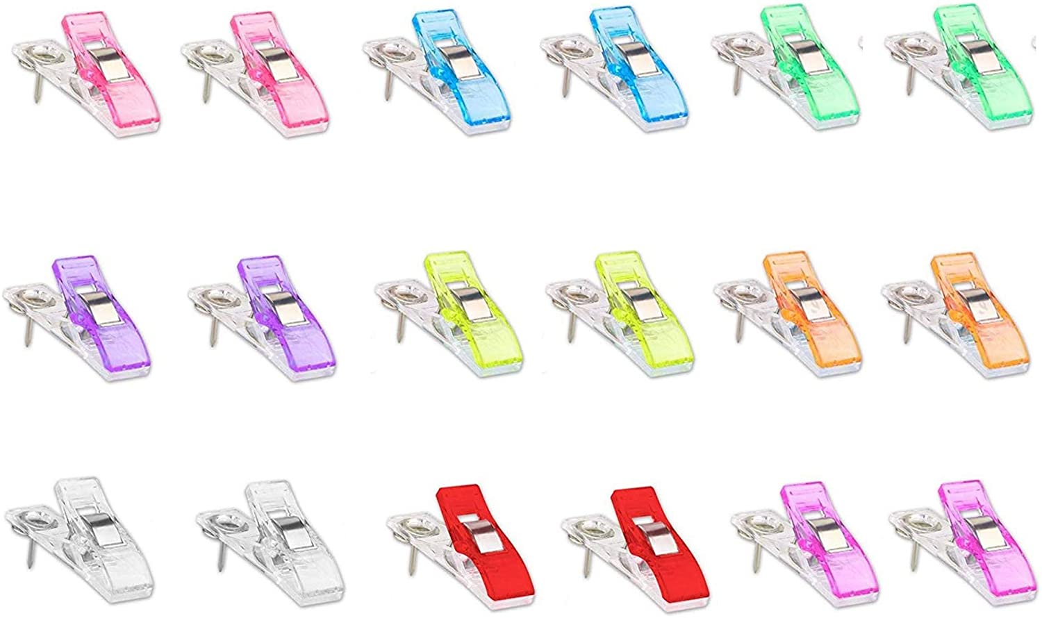 18 Pcs Plastic Clips with Push Pins Multi Color Mini Innovative Paper Clip for Photos Memo Notes Map Ticket Pictures Craft Project Cubicle Wall Cork Board Office School Home
