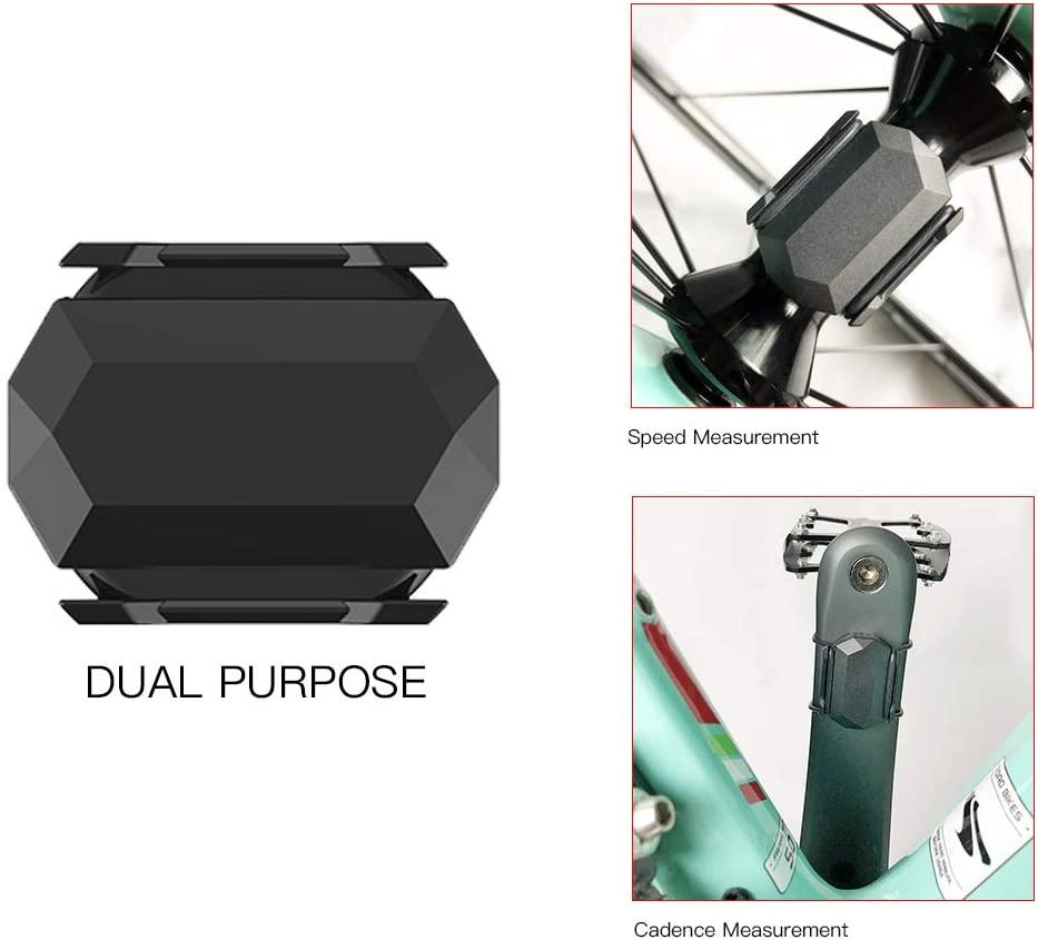 LCJDD 2-in-1 ANT+ Bike Speed and Cadence Sensor, Bluebooth Cadence Sensor for Spin Bike, Support Igpsport/Bryton/Garmin