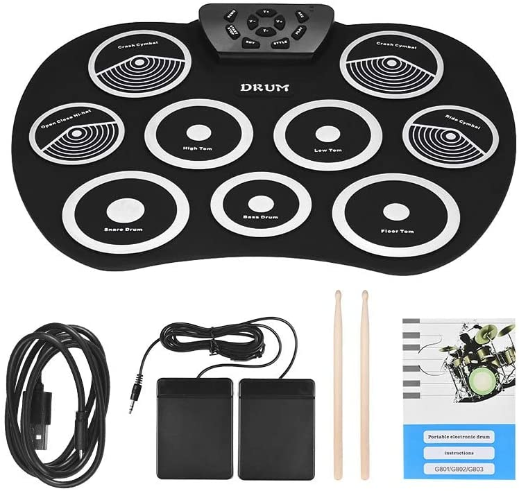 Roll Up Drum Kit 9 Pads Electronic Drum Set USB Powered with Foot Pedals Drumsticks USB Cable for Students Kids (White)