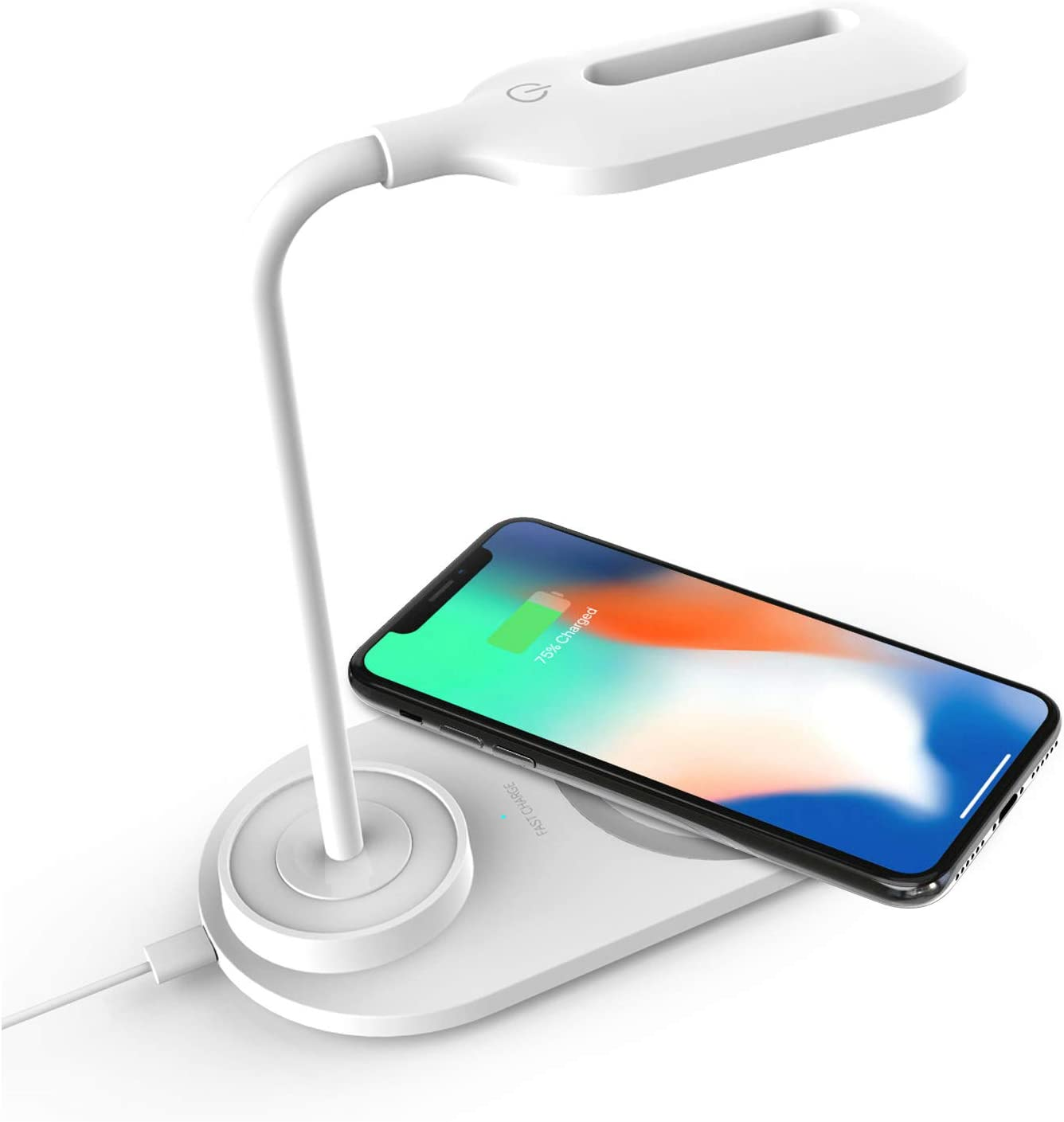 3 Brightness Level Dimmable LED Desk Lamp with Wireless Charger, Eye-Caring Table Lamps, Table Lights,3 Color Light, Wireless Charging Desk Light Flexible Rotation Touch Control Night Light for Kids