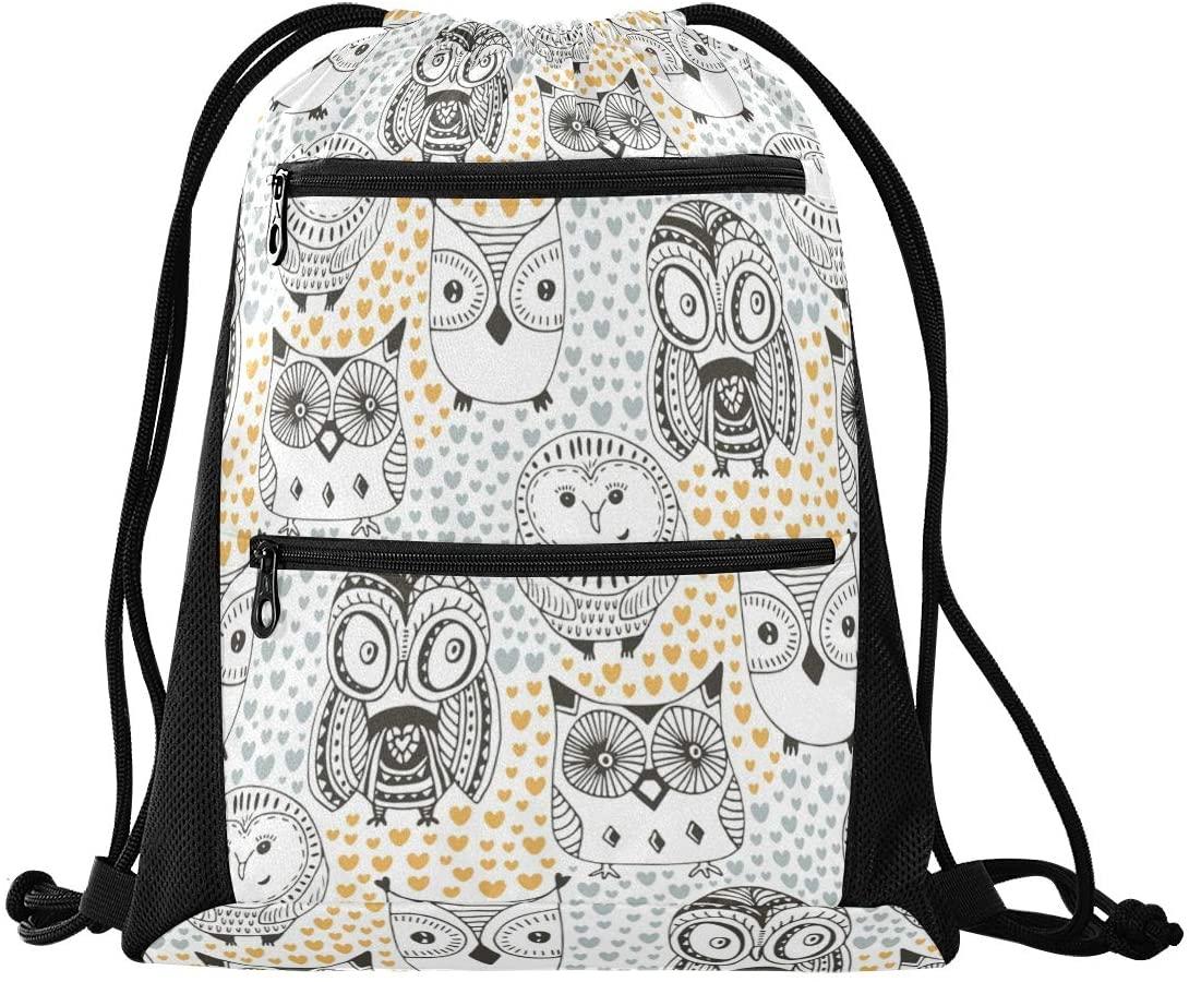 Drawstring Bag Childish Owl Lightweight Sring Backpack Bags for Hiking Yoga Gym Swimming Travel Beach with Zipper Mesh Pockets