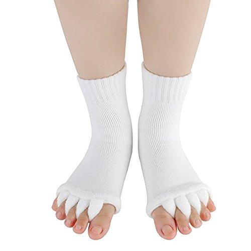 DevsWear Toe Separator Yoga Gym Sports Massage Socks Foot Alignment, Great Sore Feet Toe Spacer & Stretcher - Stretch Tendon Relieve Pain Feet (White-1Pair)