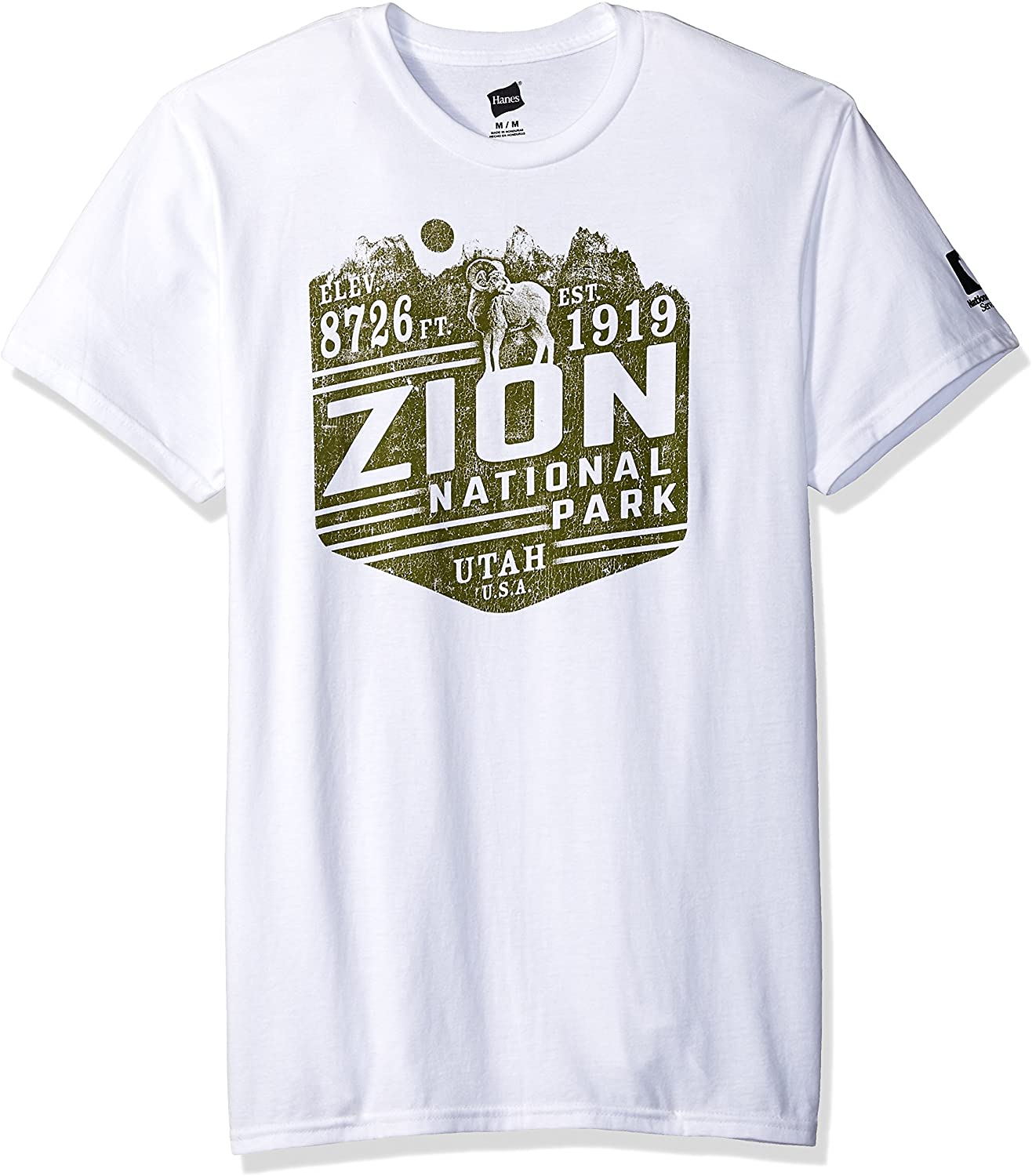 Hanes Men's National Parks Graphic T-Shirt Collection, White/Zion, 3X Large