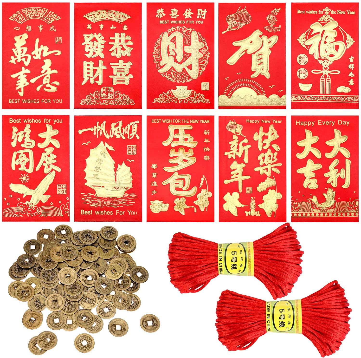 112 Pieces Chinese New Year Decorations, Includes 60 Pieces Chinese Red Envelopes, 50 Pieces Chinese Good Luck Fortune Coins with 2 Rolls Satin Nylon Trim Cord for Chinese Spring Festival