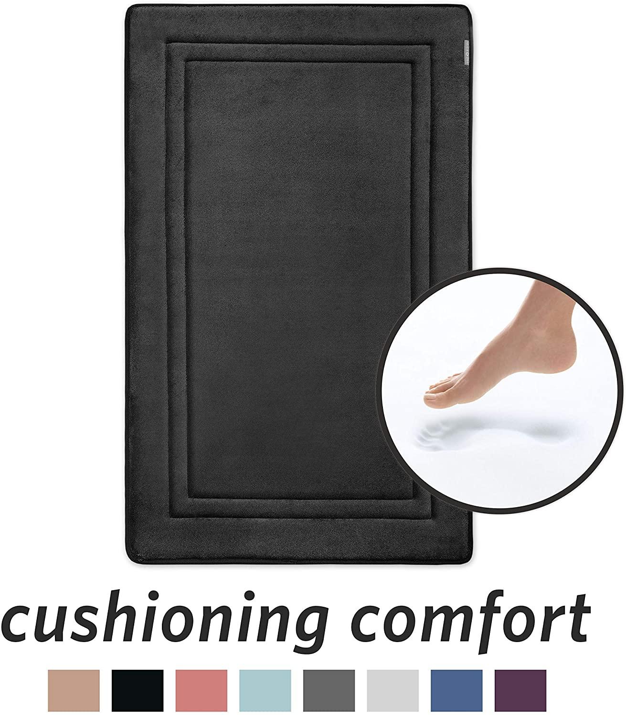 MICRODRY Quick Drying Memory Foam Framed Bath Mat with GripTex Skid-Resistant Base   21x34 (Ebony)