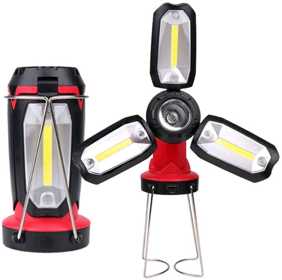 Danoensit USB Rechargeable COB Work Light LED Flashlight Camping Hiking Emergency Multifunction Fan Light for Kids Car Repairing Tent Fish