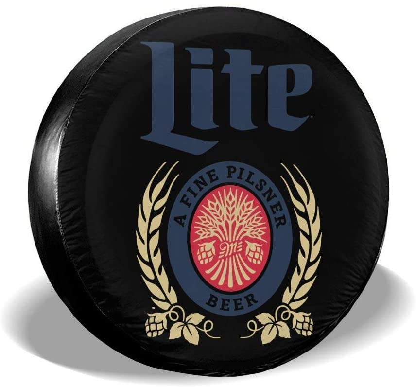Miller Lite Spare Tire Cover Universal Spare Wheel Tire Covers for Jeep, Rv, SUV, Trailer, Truck