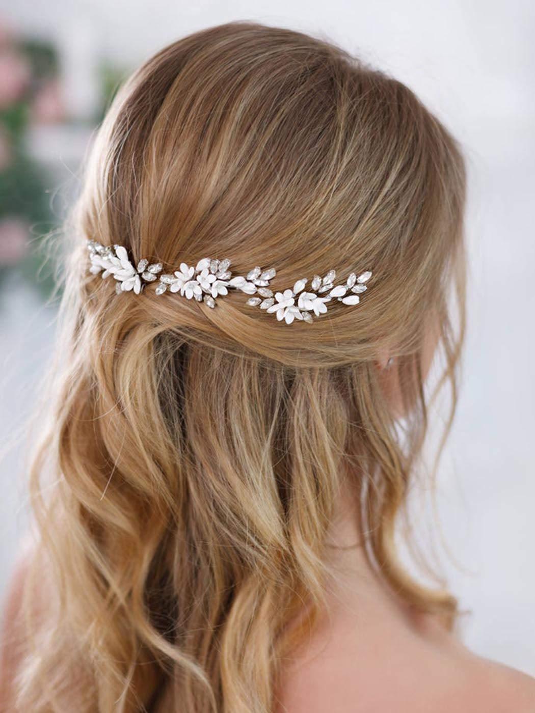 Brishow Bride Flower Wedding Hair Pins Clips Silver Rhinestones Bridal Hair Piece Crystal Hair Accessory for Women and Girls (3 PCS)