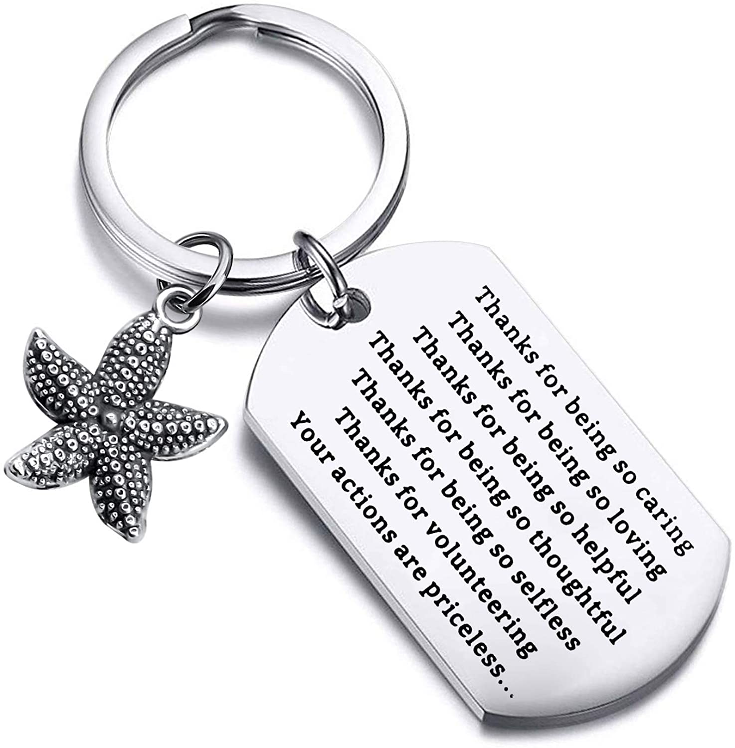 FUSTMW Thank You Gift for Social Worker Appreciation Gifts for Volunteer Teacher Starfish Keychain Volunteer Jewelry Thanks for Volunteering You Actions are Priceless