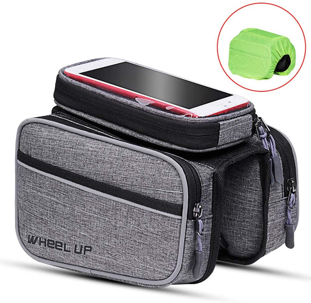 YJF Bike Frame Bag, with Waterproof Bicycle Bag and TPU Touchscreen, Large Capacity Storage Bag with Headphone Hole for Smart Phone Below 6.0 inch