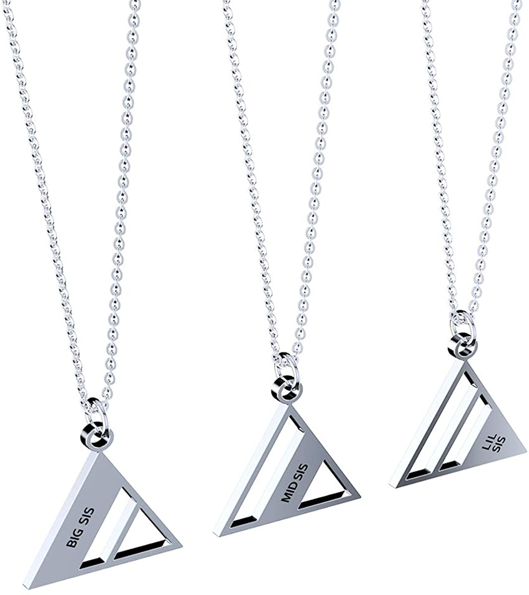 3 Piece of Big Sis Middle Sis Lil Sister Triangle Pendant Necklace Girls Exquisite Personalized Gift Set Silver-Tone, 17