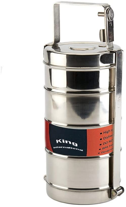 King International Stainless Steel Food Grade Bento Traditional Handle Tiffin Box, Lunch Box | Traditional Indian Lunch Box | Indian Tiffin | Food storage container (4 Tier)