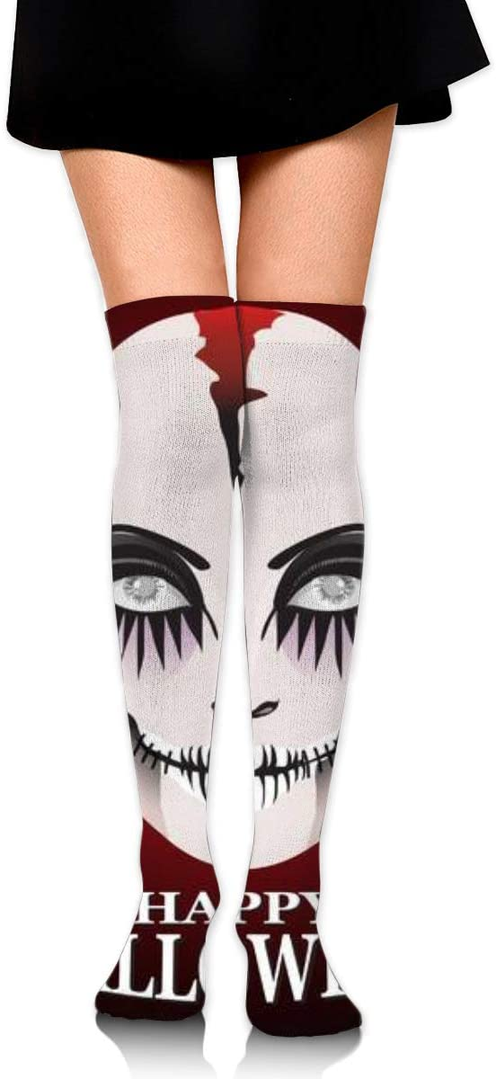 Woman in Day of The Dead Mask Ghost Face Art.Women's Over Knee Thigh Socks Girl High Stockings 65 Cm/25.6In