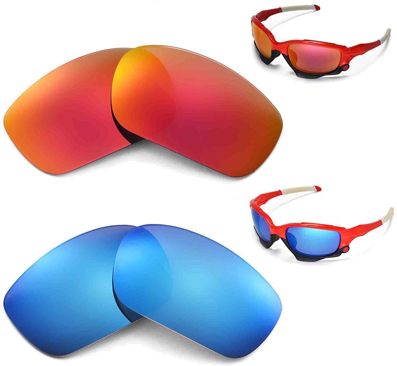 Walleva Polarized Fire Red + Blue Lenses for Oakley Racing Jacket