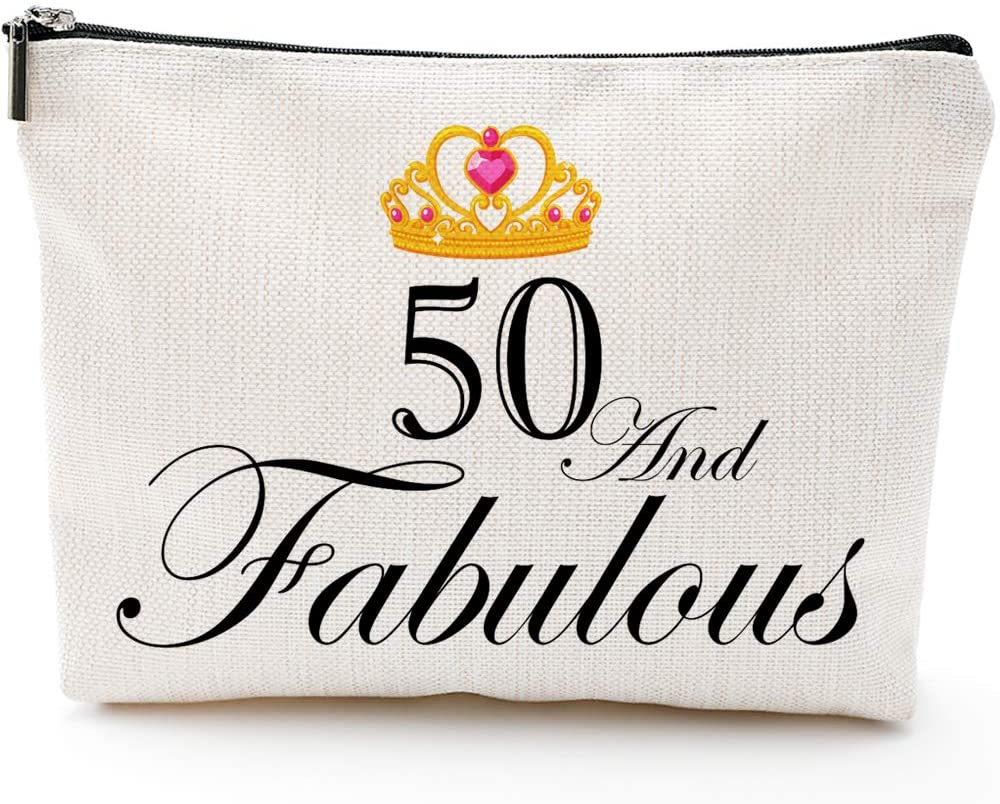 50 and Fabulous,50th Birthday Gifts for Women, Boss,Wife,Mother,Daughter Makeup Bag, Milestone Birthday Gift for Her, Presents for Turning Fifty and Fabulous