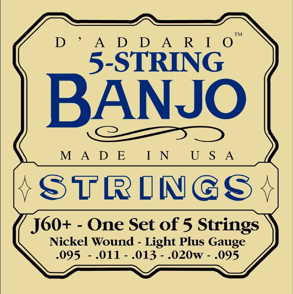 D'Addario J60+ 5-String Banjo Strings, Nickel, Light Plus, 9.5-20