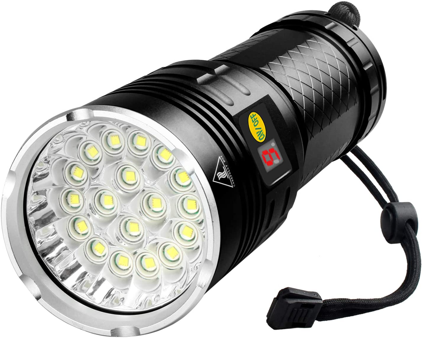 Woputne 18 LEDs Flashlight 10000 Lumen, Type-C Rechargeable, Bright Flashlight High Lumens, Powerful Flashlight with Battery Power Display