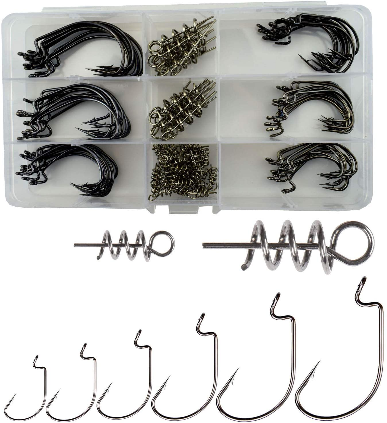 Luengo Fishing Offset Worm Hook, 100pcs/box High Carbon Steel Wide Gap Bait Jig Fish Hooks with Plastic Box #1-5/0
