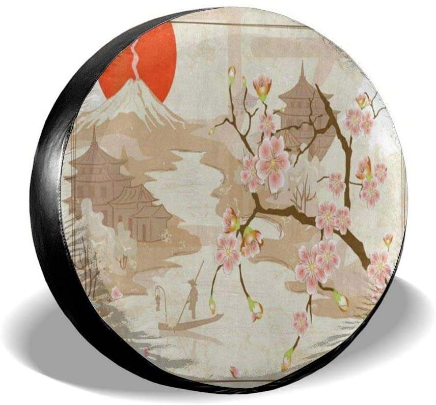 All agree Spare Wheel Tire Cover Japanese Cherry Blossom Vintage Universal Waterproof Camper Tire Covers Protectors for RV, Trailer, SUV, Truck, Boat, Motorhome, Vehicle, Auto Accessories