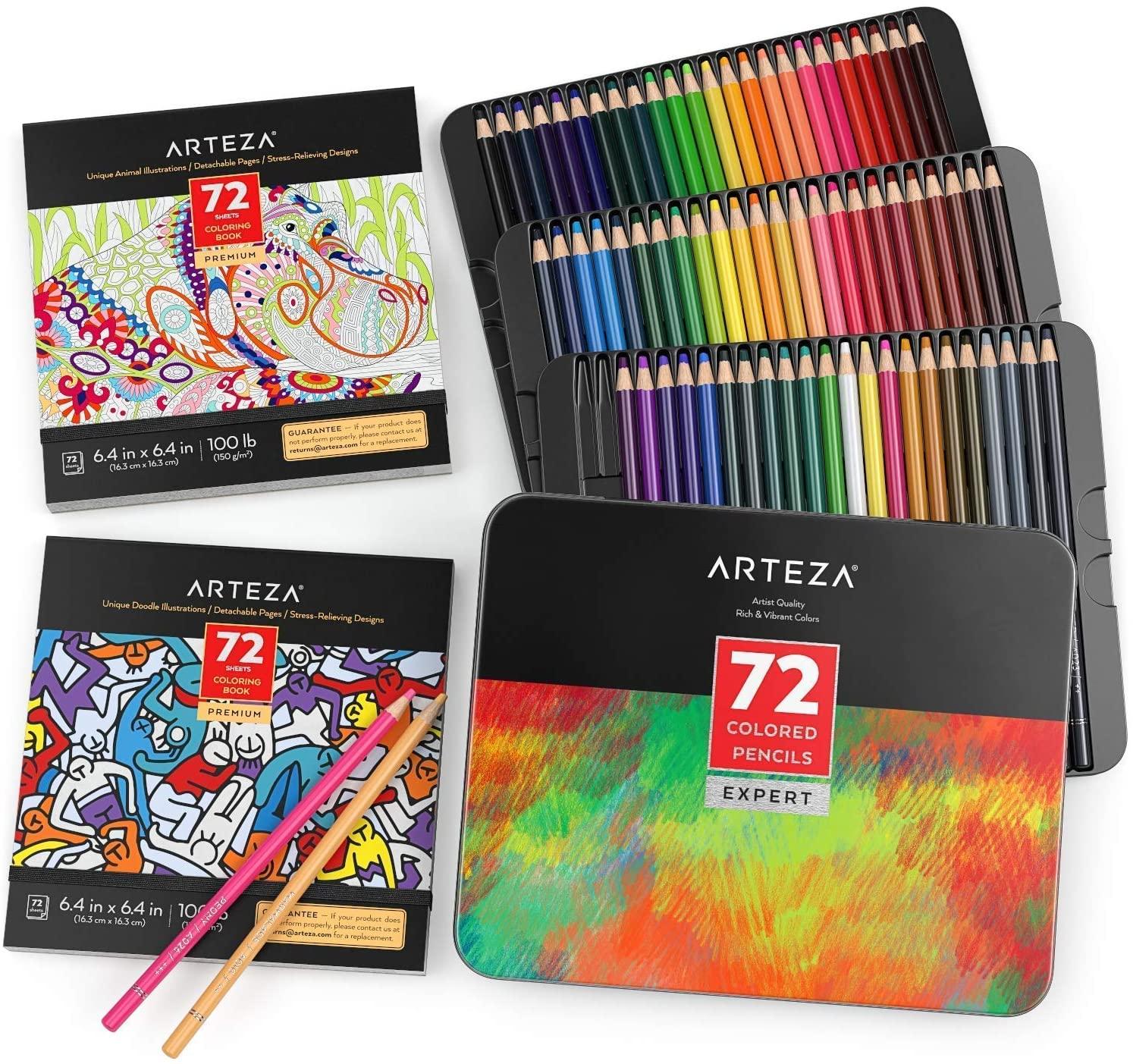 Arteza Coloring Pencils and Book Bundle