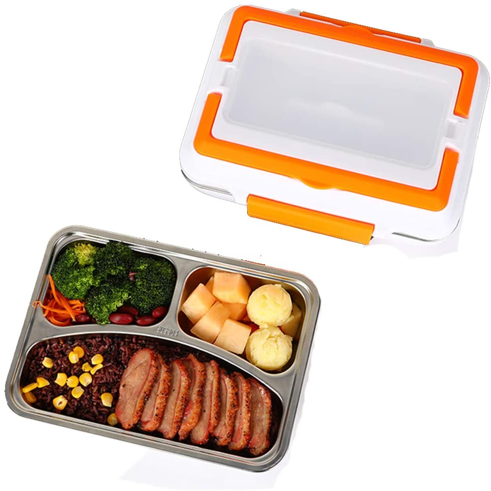 Aceyyk Electric Heating Lunch Box. Car Home Office Use Food Warmer Portable Bento Meal Heater with Stainless Steel Container,Orange,12V