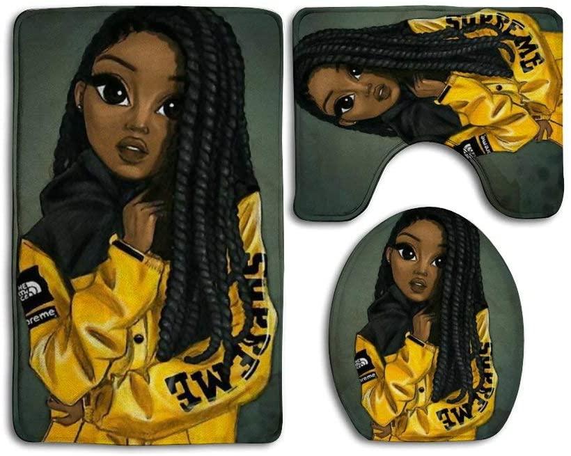 SARA NELL Afro Black Girl with Jacket Bath Mat 3 Piece Set Bathroom Floor Mat Pedestal Rug + Lid Toilet Cover + Bath Mat