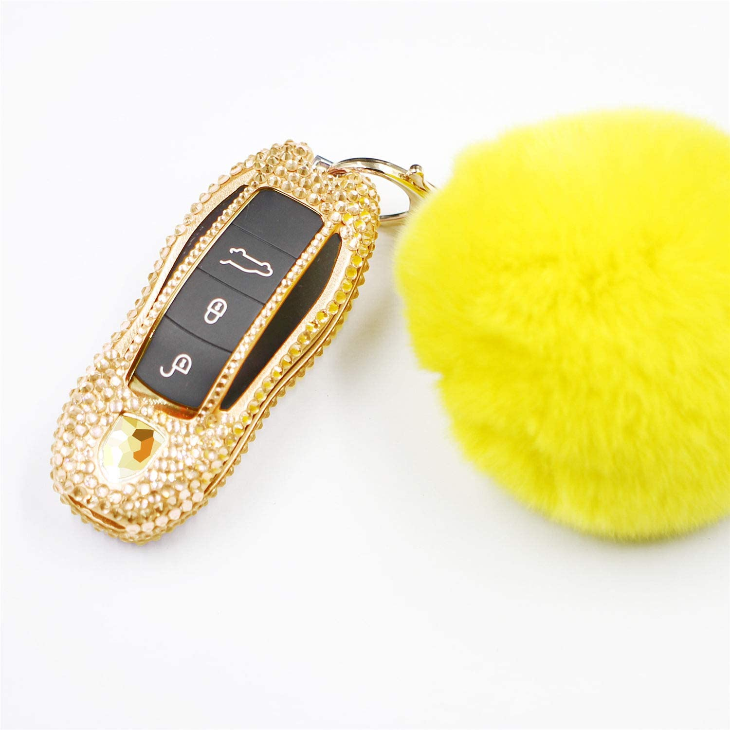 M.JVisun Handmade Car Key Fob Cover for Porsche Remote Fob, Diamond Key Case Cover Fits Porsche 718 911 918 Panamera Macan Cayenne Boxster Cayman, Bling Crystals Aluminum Key Cover Protector - Gold