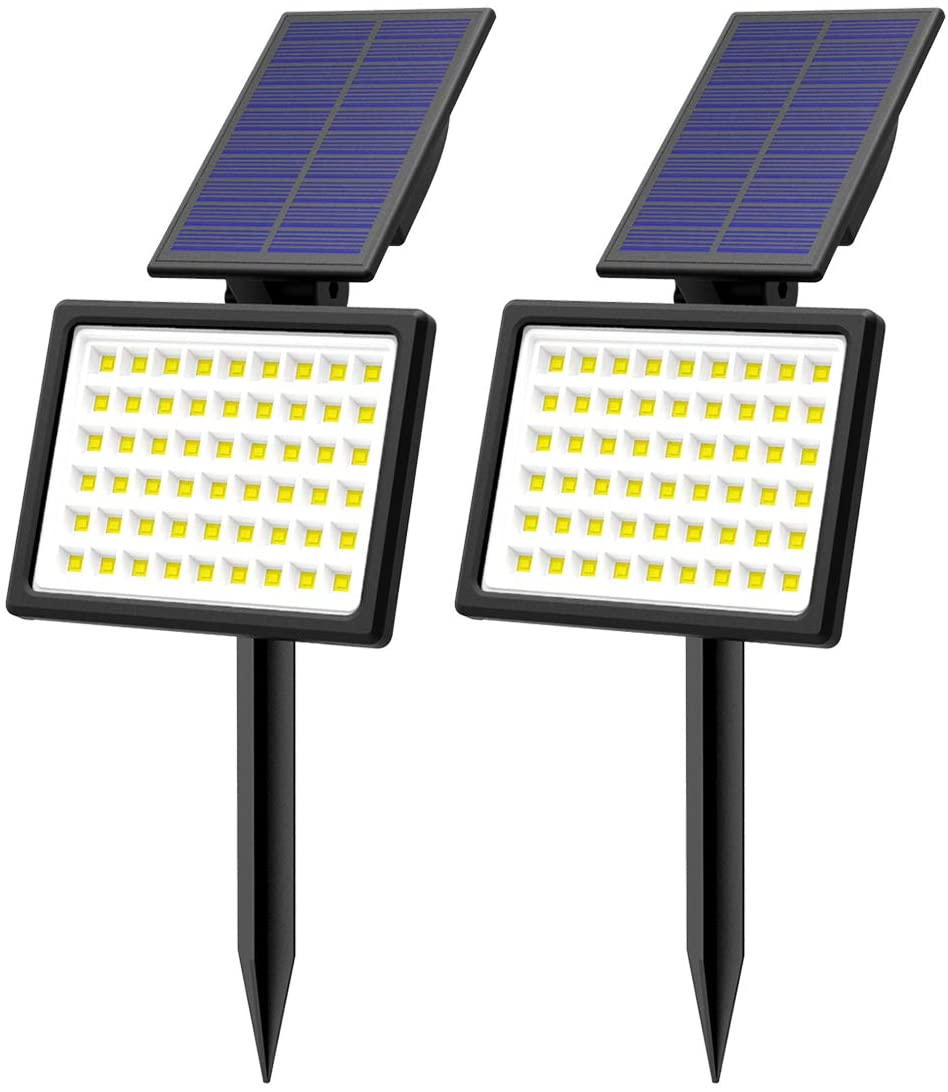 T-SUN Outdoor Solar Lights,2 Pack Waterproof Landscape Spotlights 54 LED Wireless Adjustable Bright White Light,Dual-use Lights for Yard Garden Driveway Lawn Pool Backyard