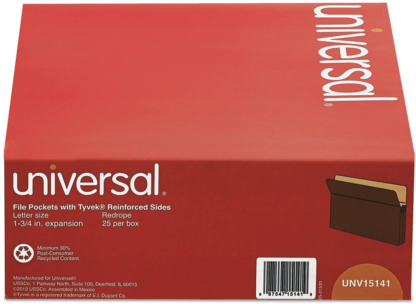 Universal 15141 1 3/4 Inch Expanding File Pockets, Straight Tab, Letter, Redrope/Manila, 25/Box