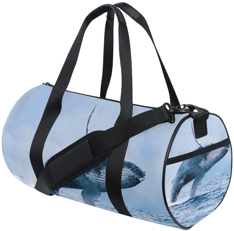 My Little Nest Sports Gym Bag Sea Whale Lightweight Travel Duffel Bag for Women Men