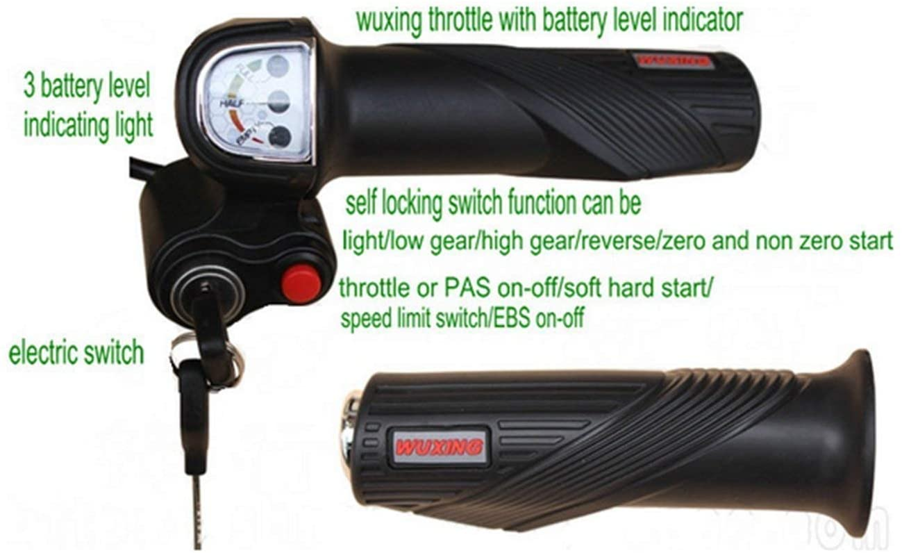 Scooter 24v36v48v Gas Handle Twist Throttle with Battery Level Indicator&Lock/Key& Switch Parts