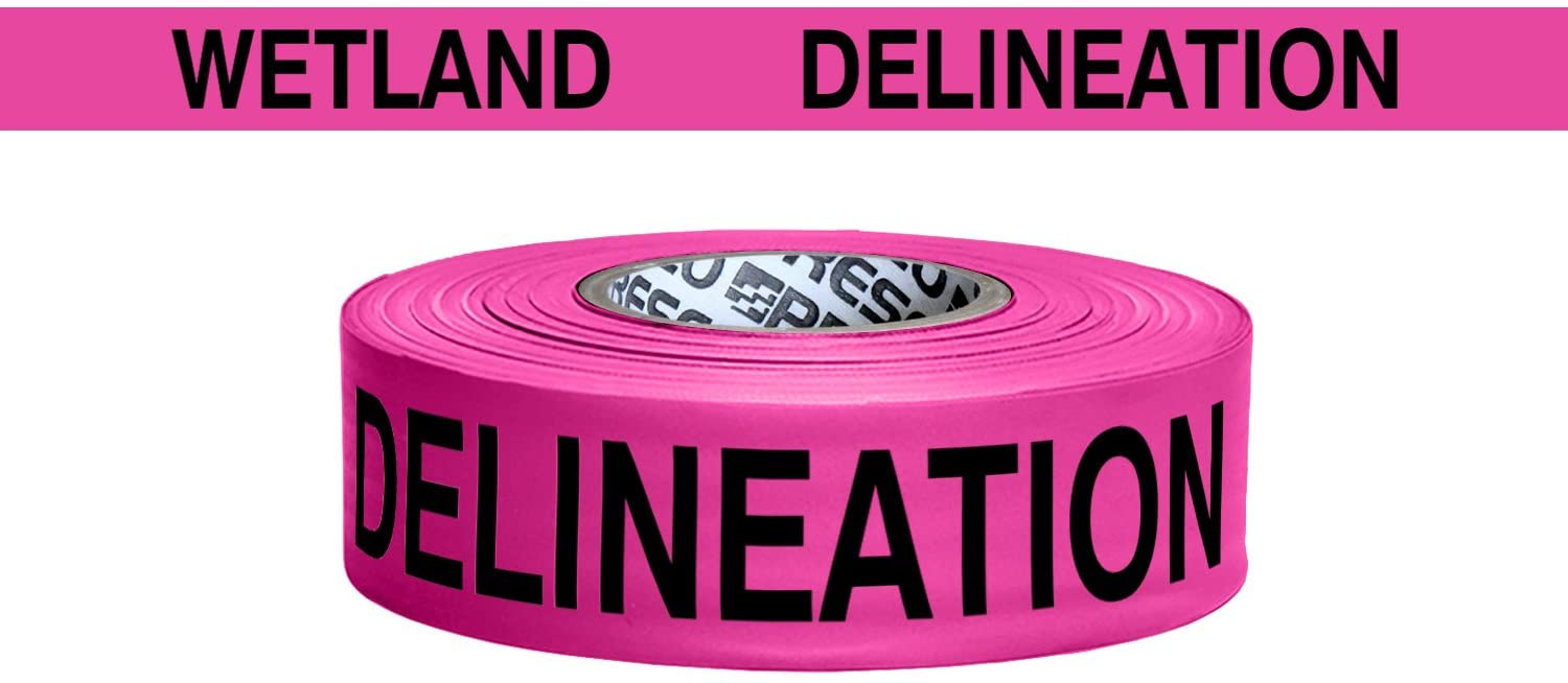 Presco Printed Roll Flagging Tape: 1-1/2 in x 50 yds. (Neon Pink with Black