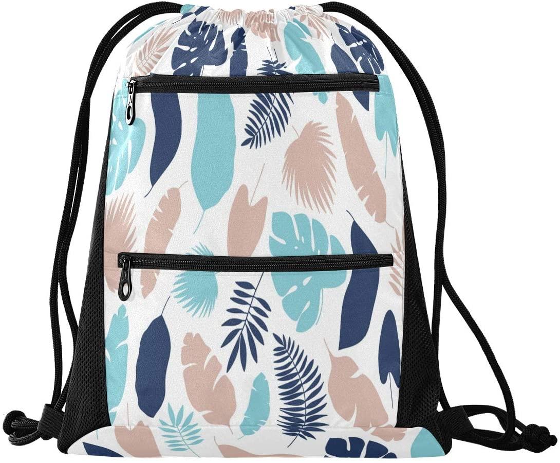 Drawstring Backpack Sport Gym Sackpack - Palm Leaves Drawstring Bag with Zipper Pocket Sinch Sack Sport Backpack for Hiking School