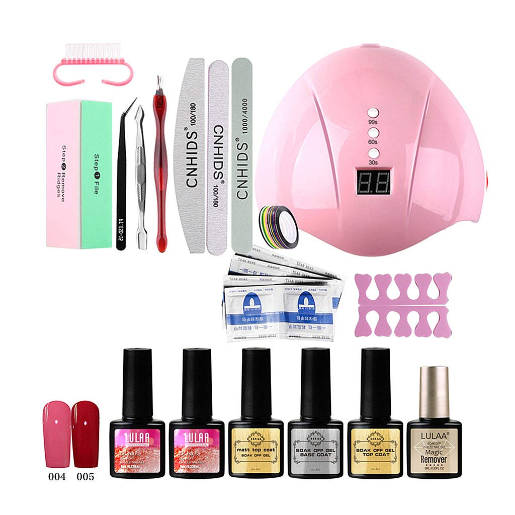 Gooldu Nail Gel Kit with UV Light, Nail Polish, Nail Manicure Tools Nail Art Accessories Home Manicure Tools (18pcs)
