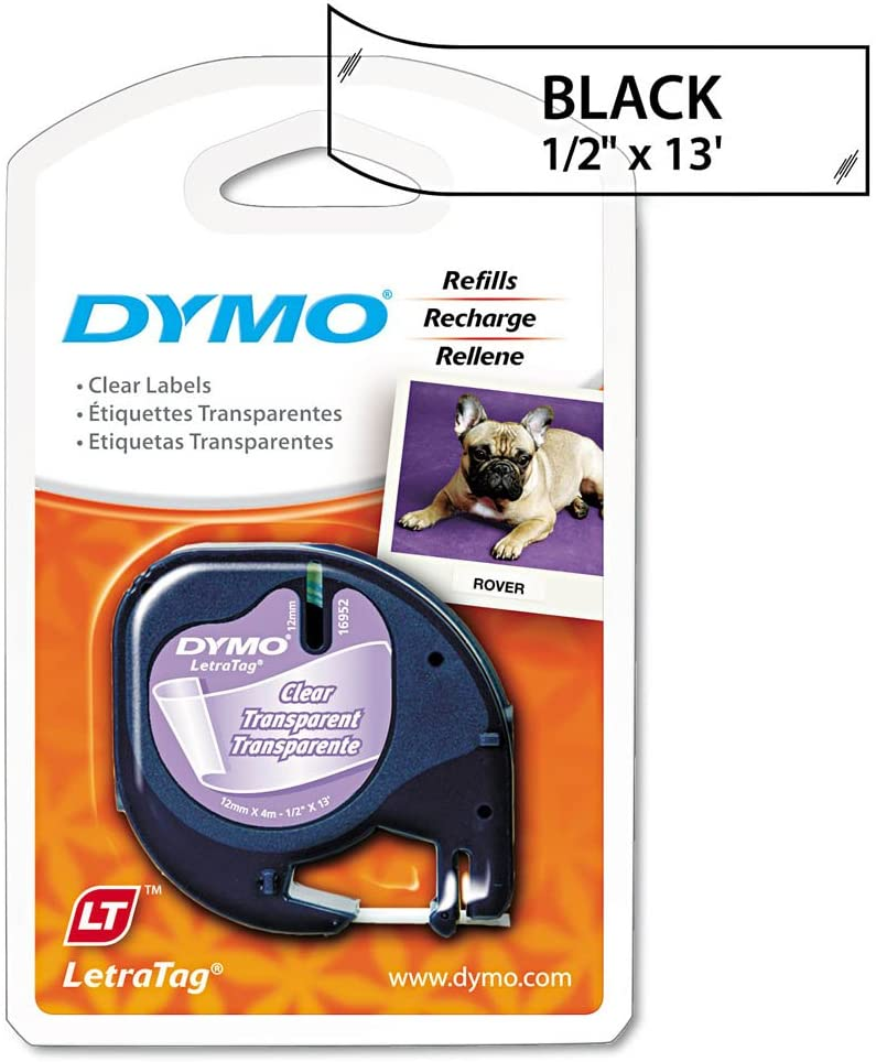 DYMO 16952 LetraTag Plastic Label Tape Cassette, 1/2-Inch x 13ft, Clear