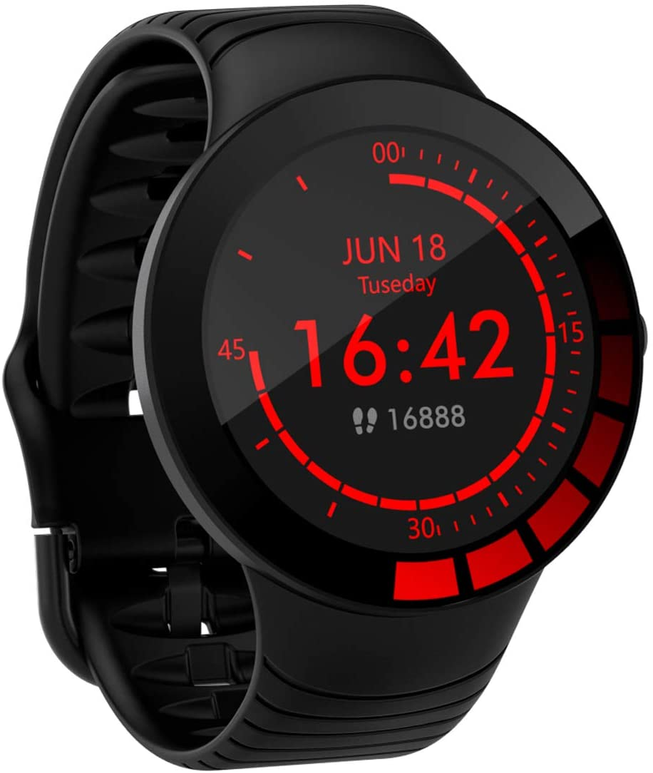Pard 2020 Digital Sport Watch, Full Touch Fitness Tracker with Heart Rate Blood Pressure Monitor, IP68 Waterproof Pedometer Smartwatch with Sleep Monitor for Men Women, Black