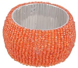 ShalinIndia Beaded Napkin Rings - Set of 6 Rings -Orange Napkin Rings Set -Diameter-1.5 Inch
