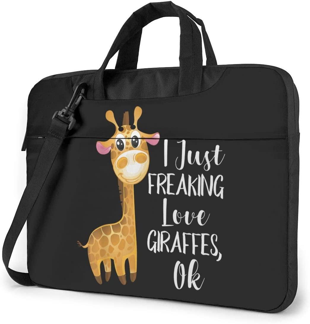 I Freaking Love Giraffes Laptop Shoulder Bag with Handle Carrying Messenger Handbag