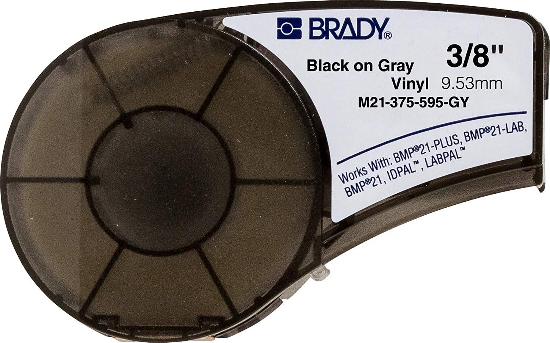 Brady M21-375-595-GY Cartridge, B595 Vinyl Indoor/Outdoor Material, 0.375