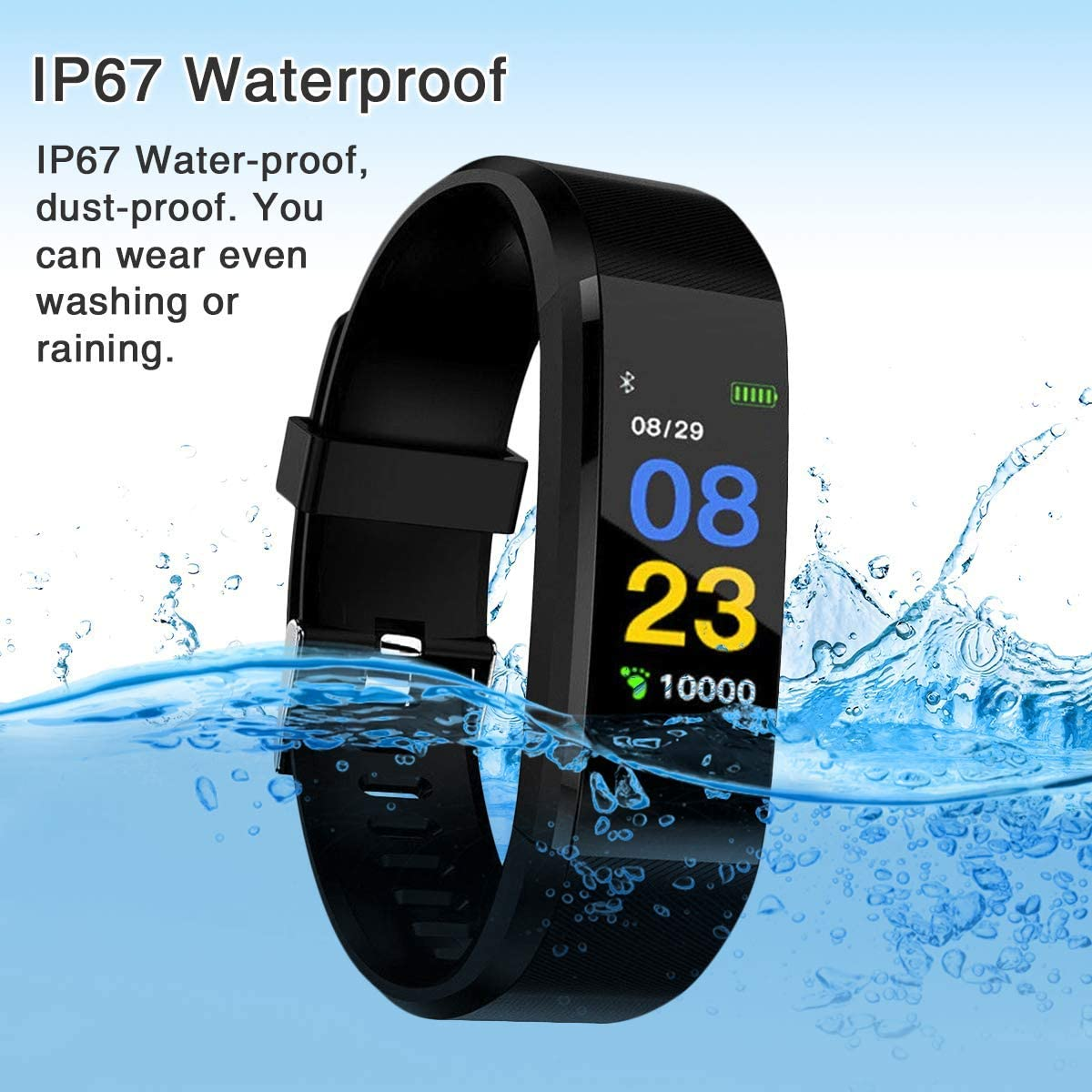 Activity Trackers Health Exercise Watch Heart Rate Smart Watch Blood Pressure Monitor, Waterproof Fitness Tracker Band with Step Counter, Calorie Counter, Pedometer Watch for Kids Women Men (Black)