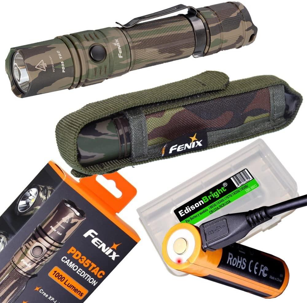 EdisonBright Fenix PD35 TAC 1000 Lumen Camouflage Version CREE LED Tactical Flashlight (Camo) with Fenix USB Rechargeable 18650 ARB-L18-2600U Li-ion Battery BBX3 Battery case