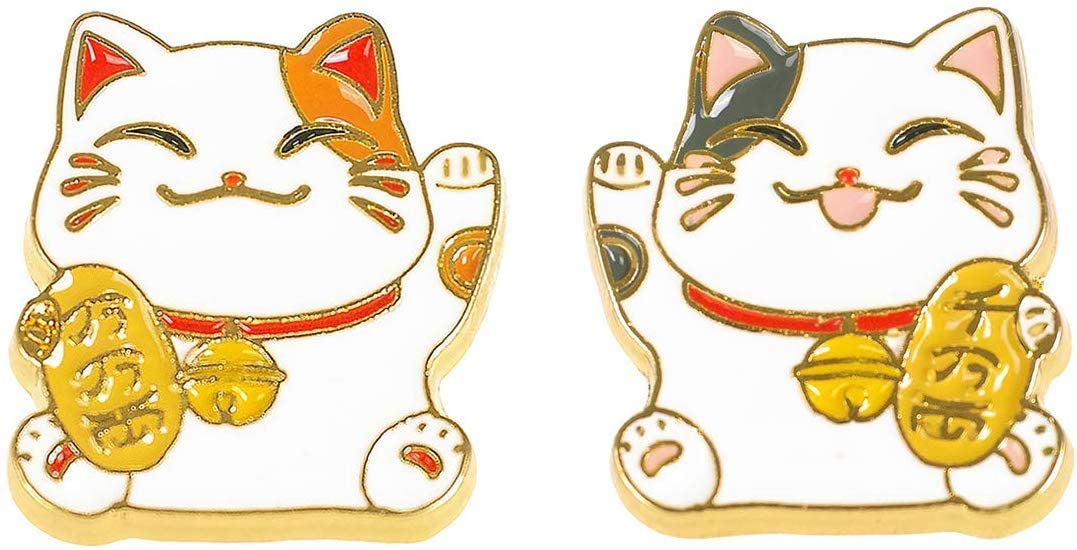 CosInStyle Cute Metal Pin Set with 2 Cat Pins