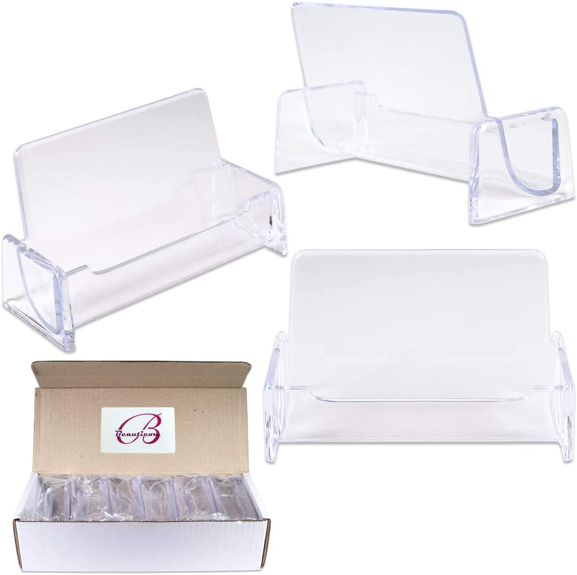 Beauticom 12 Pieces - Clear Plastic Business Card Holder Display Desktop Countertop (Style # 3)