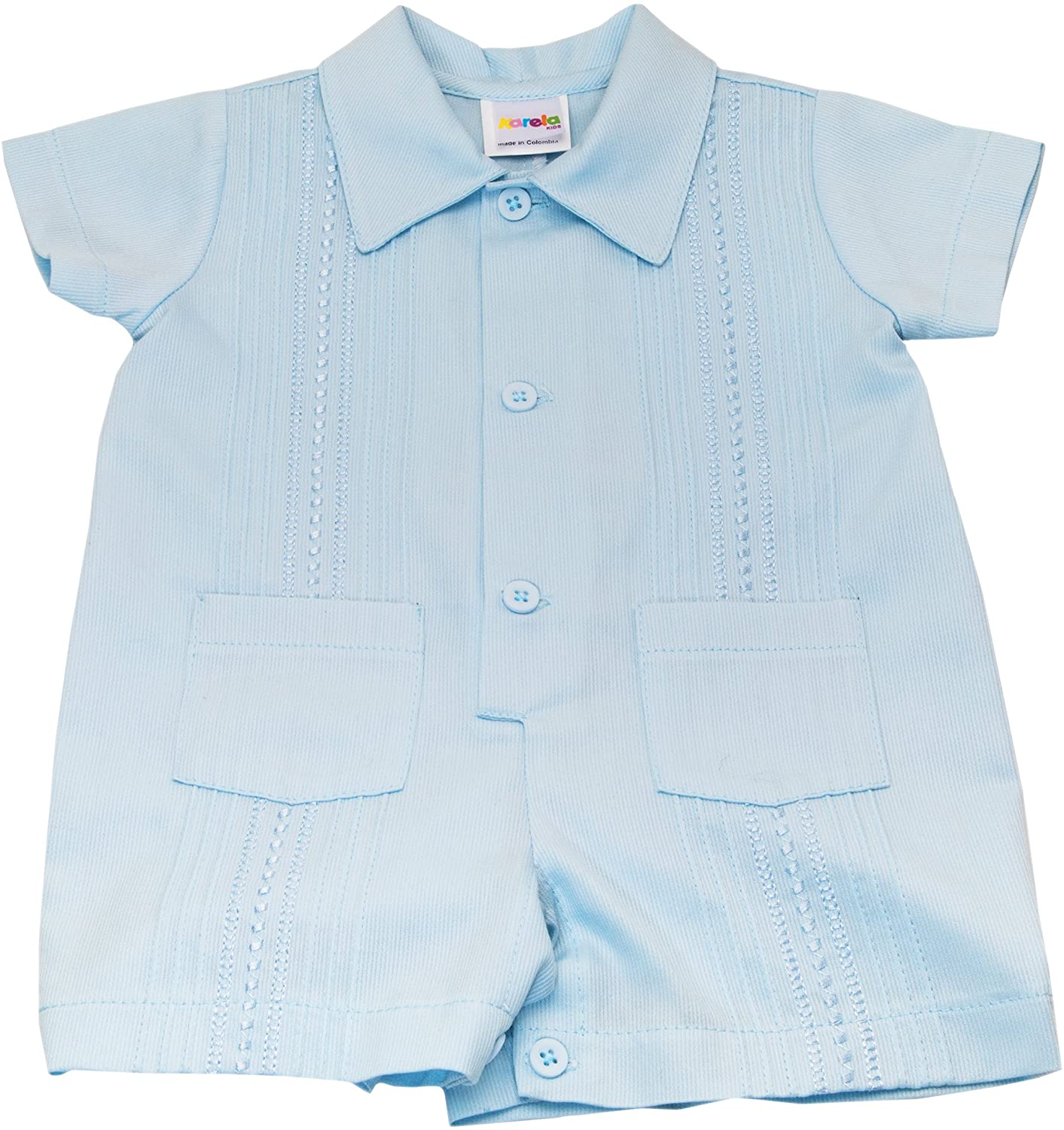 Karela Pique Blue Baby Boy Guayabera Romper Blue Embroidery with Two Small Pockets. Buttons Between Legs
