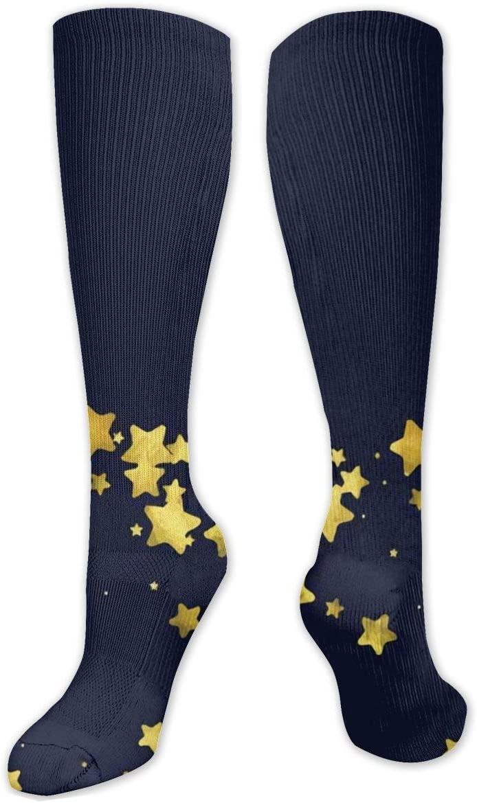 Compression Sock for Women & Men,Golden Sparkles and Dots CasualLongKneeHighTubeSocksforRunnning,SoccerAthleticSports,Travel-50cm