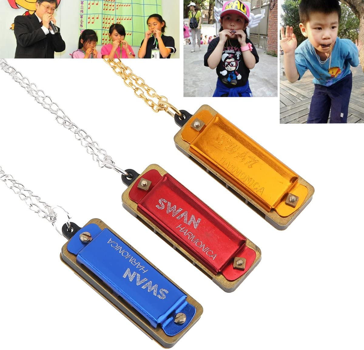 【The Best Deal】OriGlam 3pcs Mini Swan Harmonica Key of C, 4 Holes 8 Tones Harmonica, Metal Chain for Children, Kids, Beginners for Parties, Holidays As Gifts